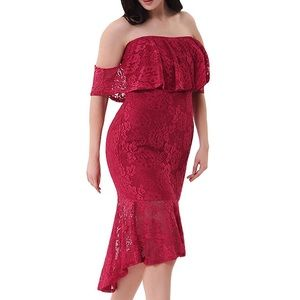 Dresses & Skirts - Hot Red Off Shoulder Mermaid Lace Dress,S-2XL